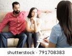 female psychologist writing... | Shutterstock . vector #791708383