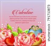 valentine card camellia... | Shutterstock .eps vector #791713873