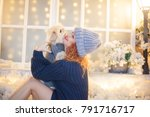 xmas portrait of beautiful... | Shutterstock . vector #791716717