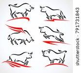bull collection set. vector | Shutterstock .eps vector #791731843