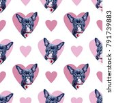 seamless pattern with pink... | Shutterstock . vector #791739883