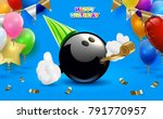bowling happy birthday party.... | Shutterstock .eps vector #791770957