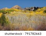 golden aspens on mountainside... | Shutterstock . vector #791782663