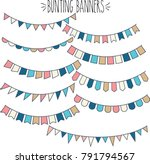 bunting banners navy pink blue... | Shutterstock .eps vector #791794567