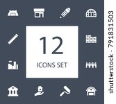 set of 12 architecture icons... | Shutterstock .eps vector #791831503