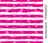 pink lips seamless pattern on... | Shutterstock .eps vector #791842027