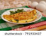 omelette with cheese and... | Shutterstock . vector #791933437