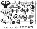 set of monochrome bodybuilding... | Shutterstock .eps vector #791935477