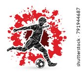 soccer player running and... | Shutterstock .eps vector #791944687