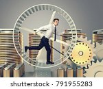 young man run in abstract 3d... | Shutterstock . vector #791955283