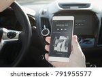 listening music. smart phone... | Shutterstock . vector #791955577