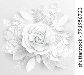 paper flower. white roses cut... | Shutterstock .eps vector #791956723