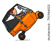 funny man driving indonesian... | Shutterstock .eps vector #791966023