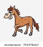 horse cartoon character... | Shutterstock .eps vector #791978167