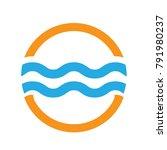 minimal modern sea water wave... | Shutterstock .eps vector #791980237