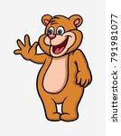 bear happy say hello cartoon... | Shutterstock .eps vector #791981077