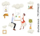 life in the clouds. a man and a ... | Shutterstock . vector #791994613