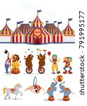 circus set  tent  lion  bears ... | Shutterstock .eps vector #791995177