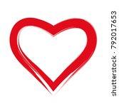 brush drawing calligraphy heart ... | Shutterstock .eps vector #792017653