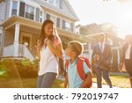 businesswoman parents walking... | Shutterstock . vector #792019747