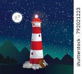 lighthouse illustration  night...   Shutterstock . vector #792021223