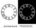 retro clock face with roman... | Shutterstock .eps vector #792032533