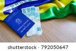 brazilian work permit with... | Shutterstock . vector #792050647