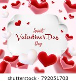 valentine s day many hearts... | Shutterstock .eps vector #792051703