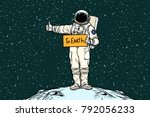 astronaut hitch rides on earth. ... | Shutterstock .eps vector #792056233