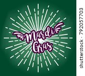 mardi gras text circle design... | Shutterstock .eps vector #792057703