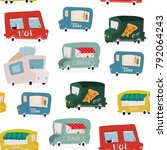 hand drawn food trucks. colored ... | Shutterstock .eps vector #792064243