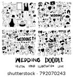 set of wedding hand drawn... | Shutterstock .eps vector #792070243