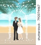 wedding day on the beach with... | Shutterstock .eps vector #792074467