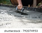 hand plastering concrete to... | Shutterstock . vector #792074953