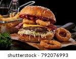 surf and turf seafood and meat... | Shutterstock . vector #792076993