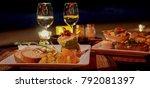 romantic dinner on the beach ...   Shutterstock . vector #792081397