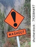 Small photo of Washout road sign, New Zealand