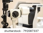 diagnostic slit lamp in office... | Shutterstock . vector #792087337