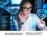 concentrated woman. clever... | Shutterstock . vector #792114727