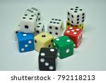 large group of gambling cubes | Shutterstock . vector #792118213