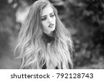young woman with long hair and