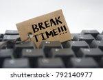 paper tag written break time...   Shutterstock . vector #792140977