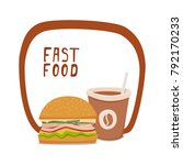 coffee and burger. fast food to ... | Shutterstock .eps vector #792170233
