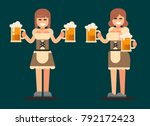 bavarian girl. oktoberfest beer ... | Shutterstock .eps vector #792172423