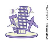 full color leaning tower of...   Shutterstock .eps vector #792183967