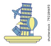 full color leaning tower of...   Shutterstock .eps vector #792184693