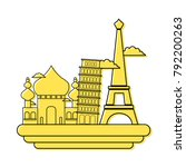 color taj mahal and leaning...   Shutterstock .eps vector #792200263