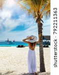 fashion traveller woman in...   Shutterstock . vector #792211363