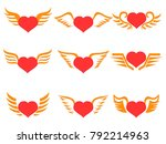 red heart wings icons set  | Shutterstock .eps vector #792214963