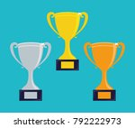trophy cups. vector | Shutterstock .eps vector #792222973